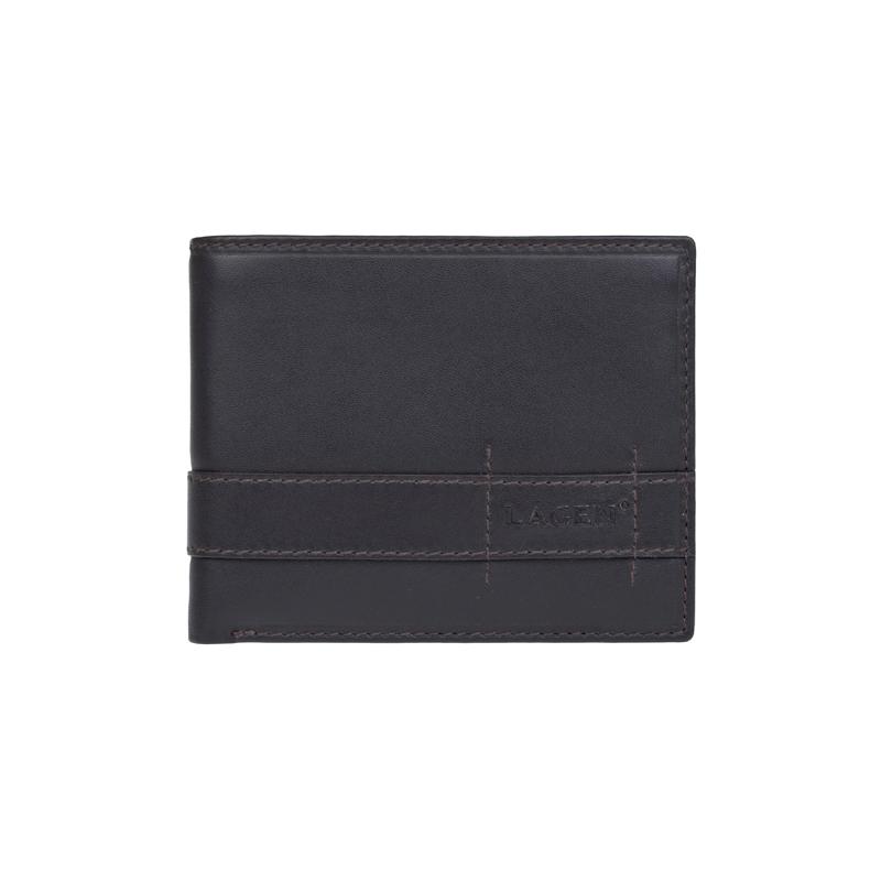 Lagen Pánská peněženka kožená 11224 Tmavě hnědá