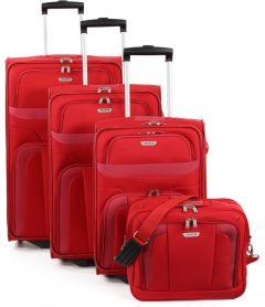 Travelite Orlando S,M,L – sada 3 kufrů + Boarding Bag Red