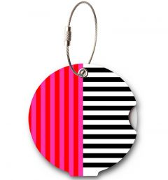 Addatag Jmenovka na kufr Multi Stripes Pink
