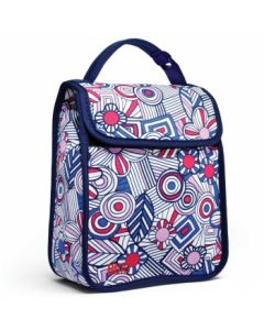 Built Girl's Lunch Sack Mosaic Flower Blue