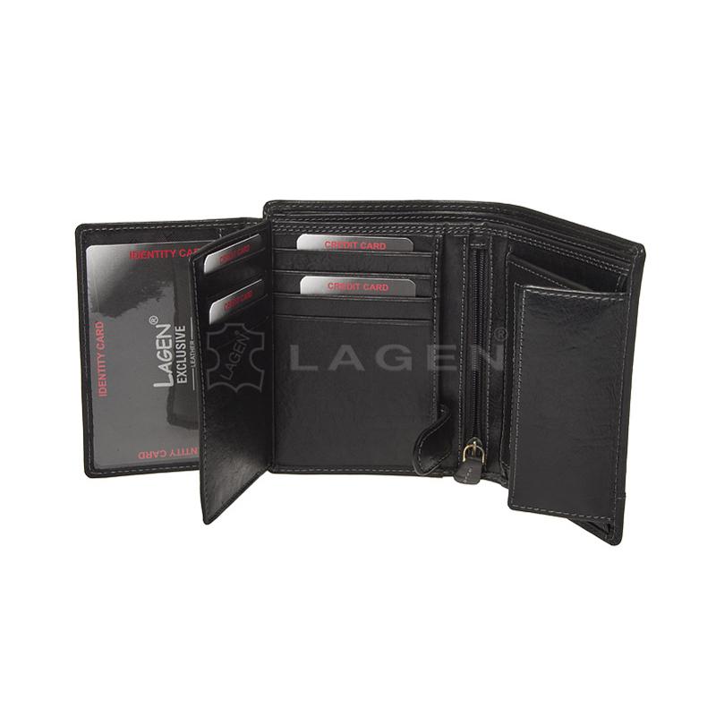 Lagen Pánská peněženka kožená V-26/T Černá