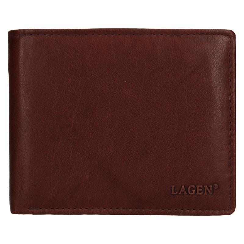 Lagen Pánská peněženka kožená V-76 Hnědá